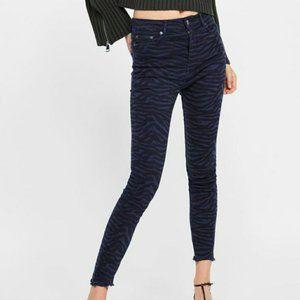 Zara High Rise Black Zebra Print Skinny Jeans 6